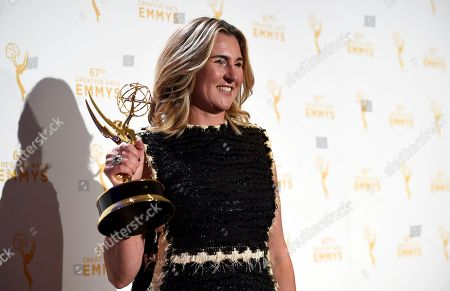 Nancy Dubuc, winner of the Governors award poses in the press room at the Creative Arts Emmy Awards at the Microsoft Theater, in Los Angeles