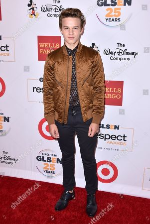 Gavin MacIntosh arrives at the 2015 GLSEN Respect Awards on in Los Angeles