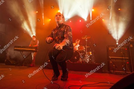 Gerrit Welmers, Samuel T. Herring and Michael Lowry of Future Islands at the Le Festival d'ete de Quebec on in Quebec City, Canada