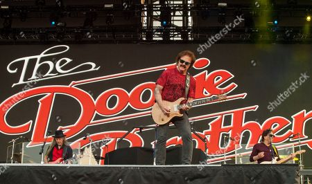 Patrick Simmons, Tom Johnston and John McFee of The Doobie Brothers seen at the Le Festival d'ete de Quebec on in Quebec City, Canada