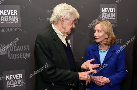 Hal Holbrook, left, and Doris Kearns Goodwin arrive at the Los Angeles Dinner : What You Do Matters at the Beverly Hilton Hotel, in Beverly Hills, Calif
