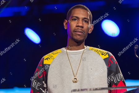 Young Guru speaks on stage during the 2015 National Association of Music Merchants