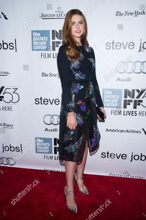 "Stock Photo of Perla Haney-Jardine attends the New York Film Festival gala presentation of ""Steve Jobs"" at Alice Tully Hall, in New York"