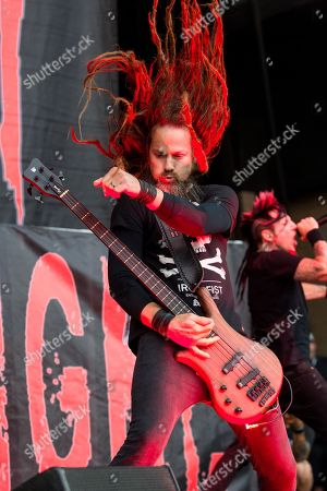 Kyle Sanders of Hellyeah performs during the 2015 Rockstar Energy Drink Mayhem Festival at San Manuel Amphitheater on Saturday, June27, 2015 in San Bernardino, California