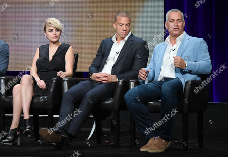 "Stock Picture of Jordan Hinson, from left, Matt Murray and executive producer Aaron Kaplan participate in the ""Kevin From Work"" panel at the Disney/ABC Summer TCA Tour at the Beverly Hilton Hotel, in Beverly Hills, Calif"