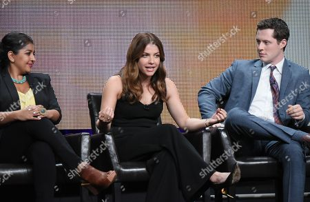 "Punam Patel, from left, Paige Spara and Noah Reid participate in the ""Kevin From Work"" panel at the Disney/ABC Summer TCA Tour at the Beverly Hilton Hotel, in Beverly Hills, Calif"