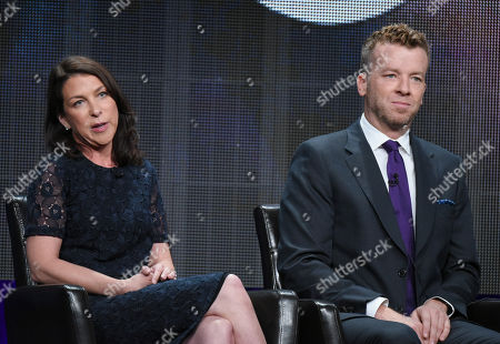 "Stock Photo of Executive producers Barbara Adler, from left, and McG participate in the ""Kevin From Work"" panel at the Disney/ABC Summer TCA Tour at the Beverly Hilton Hotel, in Beverly Hills, Calif"