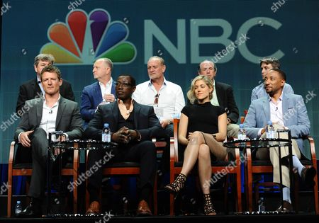 Executive Producers John Rogers, from top left, John Zinman, Patrick Massett, John Davis, and John Fox; Philip Winchester, from bottom left, Wesley Snipes, Charity Wakefield and Damon Gupton participate in 'The Player' panel at The NBCUniversal Television Critics Association Summer Tour at the Beverly Hilton Hotel, in Beverly Hills, Calif