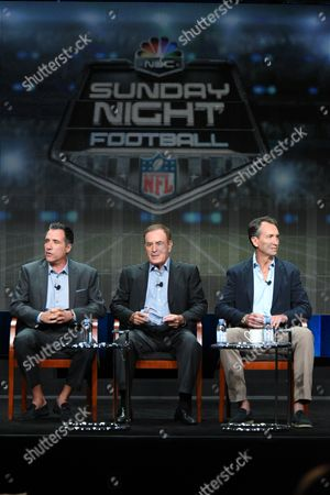 "Fred Gaudelli, from left, Al Michaels and Chris Collinsworth participate in the ""Monday Night Football"" panel at the NBCUniversal Television Critics Association Summer Tour at the Beverly Hilton Hotel, in Beverly Hills, Calif"