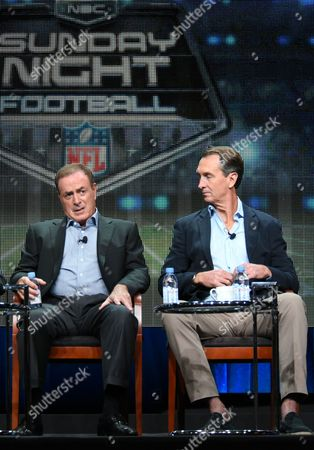 "Al Michaels, left, and Chris Collinsworth participate in the ""Monday Night Football"" panel at the NBCUniversal Television Critics Association Summer Tour at the Beverly Hilton Hotel, in Beverly Hills, Calif"