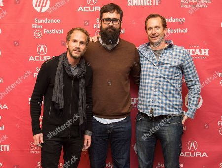"Producer Brandt Andersen, left, director Jared Hess and producer Dave Hunter, right, attend the ""Don Verdean"" premiere during the 2015 Sundance Film Festival, in Park City, Utah"