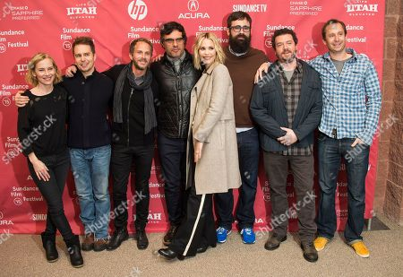 "Stock Image of From left to right, actress Amy Ryan, actor Sam Rockwell, producer Brandt Andersen, actor and Jemaine Clement, actress Leslie Bibb, director Jared Hess, actor Danny McBride and producer Dave Hunter attend the ""Don Verdean"" premiere during the 2015 Sundance Film Festival, in Park City, Utah"