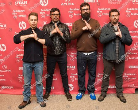 """Actors Sam Rockwell and Jemaine Clement, director Jared Hess and actor Danny McBride attend the """"Don Verdean"""" premiere during the 2015 Sundance Film Festival, in Park City, Utah"""
