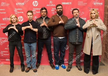 """Actress Amy Ryan, actors Sam Rockwell and Jemaine Clement, director Jared Hess, actor Danny McBride and actress Leslie Bibb attend the """"Don Verdean"""" premiere during the 2015 Sundance Film Festival, in Park City, Utah"""