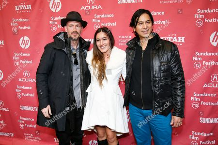 "From left to right, producer Wicks Walker, actress Q'orianka Kilcher and Kalani Queypo, pose at the premiere of ""Last Days in the Desert"" during the 2015 Sundance Film Festival, in Park City, Utah"