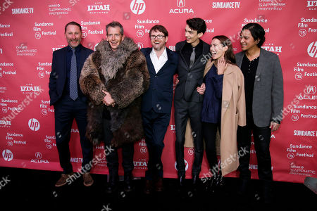 "From left to right, producer Iain Canning, actor Ben Mendelsohn, writer and director John MacLean, actor Kodi Smit-McPhee, actress Caren Pistorius, and actor Kalani Queypo pose at the premiere of ""Slow West"" during the 2015 Sundance Film Festival, in Park City, Utah"