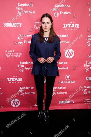 "Actress Caren Pistorius poses at the premiere of ""Slow West"" during the 2015 Sundance Film Festival, in Park City, Utah"