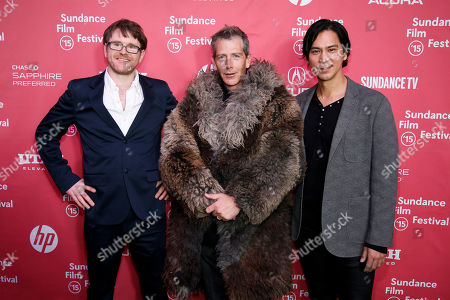 "Writer and director John MacLean, left, actor Ben Mendelsohn, center, and actor Kalani Queypo, right, pose at the premiere of ""Slow West"" during the 2015 Sundance Film Festival, in Park City, Utah"