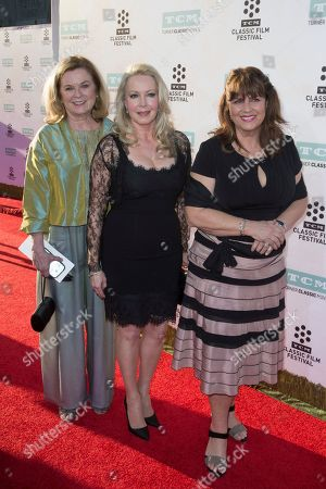 """Stock Picture of Heather Menzies-Urich, from left, Kym Karath and Debbie Turner arrive at the 2015 TCM Classic Film Festival Opening Night Gala """"The Sound Of Music"""" at TCL Chinese Theatre, in Los Angeles"""