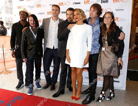 "Charles Officer, from left, Adam Moryto, Robert Budreau, Ethan Hawke, Carmen Ejogo, Callum Keith Rennie, Leonard Farlinger and Jennifer Jonas attend a premiere for ""Born to be Blue"" on day 4 of the Toronto International Film Festival at the Winter Garden Theatre, in Toronto"
