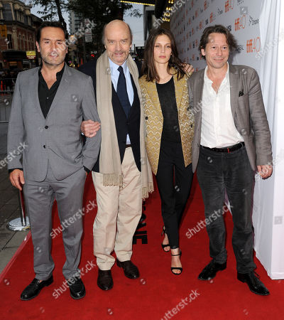 "Gilles Lellouche, from left, Jean-Paul Rappeneau, Marine Vacth and Mathieu Amalric attend a premiere for ""Families"" on day 4 of the Toronto International Film Festival at the Princess of Wales Theatre, in Toronto"