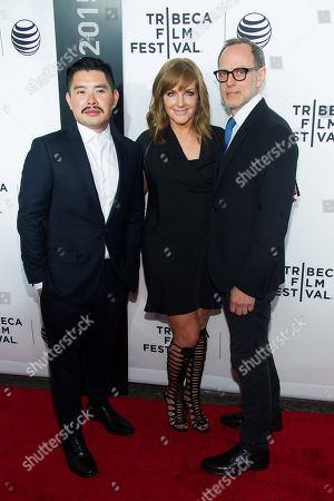 "Bao Nguyen, left, JL Pomeroy and Tom Broecker attend the 2015 Tribeca Film Festival opening night premiere of ""Live From New York!"" at The Beacon Theatre, in New York"