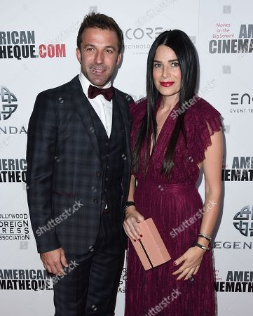 Stock Image of Alessandro Del Piero, left, and Sonia Amoruso arrive at the 30th annual American Cinematheque Award Honoring Ridley Scott at the Beverly Hilton Hotel, in Beverly Hills, Calif