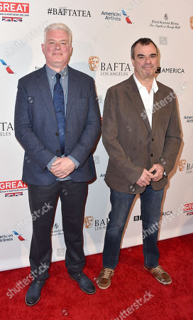 Neal Scanlan, left, and Chris Corbould arrive at the BAFTA Awards Season Tea Party at the Four Seasons Hotel, in Los Angeles