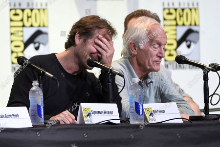 "Bill Paxton, left, reacts during a discussion with Lance Henriksen at the ""Aliens: 30th Anniversary"" panel on day 3 of Comic-Con International, in San Diego"