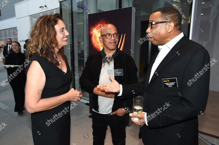 Stock Image of Starr Parodi, from left, Rickey Minor and Hayma Washington speak at the Dynamic & Diverse Nominee Reception presented by the Television Academy and SAG-AFTRA at the Academy's Saban Media Center, in the NoHo Arts District in Los Angeles
