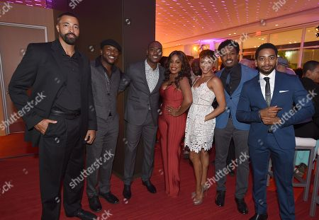 Stock Picture of Timon Kyle Durrett, from left, Edwin Hodge, B.J. Britt, Niecy Nash, Carly Hughes, Gentry White and Shaun Brown attend the Dynamic & Diverse Nominee Reception presented by the Television Academy and SAG-AFTRA at the Academy's Saban Media Center, in the NoHo Arts District in Los Angeles