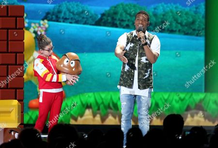 """Stock Image of Madison Shipman, left, and Kel Mitchell from """"Game Shakers"""" speak at the Kids' Choice Awards at The Forum, in Inglewood, Calif"""
