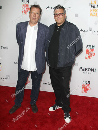 """Lloyd Stanton, left and Paul Toogood seen at The 2016 Los Angeles Film Festival - """"Dying Laughing"""" at ArcLight Culver City 2 Theater, in Culver City, Calif"""