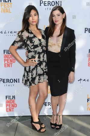 "Rain Valdez, left, and Trace Lysette attend the premiere of ""Free CeCe"" held at ArcLight Cinemas, in Culver City, Calif"