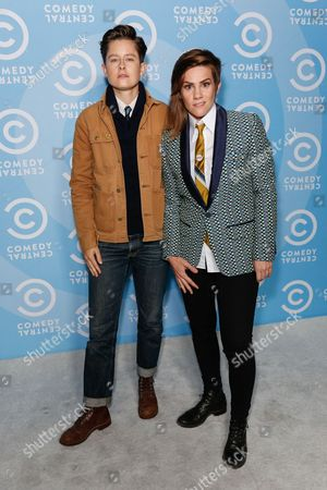 Rhea Butcher, left, and Cameron Esposito arrive at the 2016 Primetime Emmy Awards - Comedy Central Pre Party, in Los Angeles