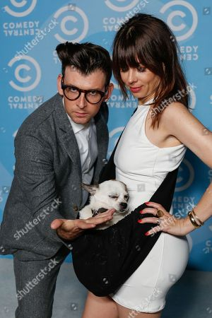 Natasha Leggero, right, and Moshe Kasher arrive at the 2016 Primetime Emmy Awards - Comedy Central Pre Party, in Los Angeles