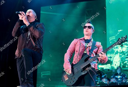 M. Shadows, left, and Johnny Christ of the band Avenged Sevenfold performs in concert during Day 2 of the Rock Allegiance Festival at Talen Energy Stadium, in Chester, Pa