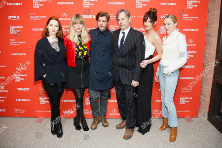 """From left to right, actors Kelly Campbell, Emma Greenwell, Xavier Samuel, director Whit Stillman, Kate Beckinsale and Chloe Sevigny pose at the premiere of """"Love & Friendship"""" during the 2016 Sundance Film Festival, in Park City, Utah"""