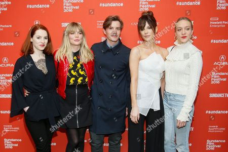 """From left to right, actors Kelly Campbell, Emma Greenwell, Xavier Samuel, Kate Beckinsale and Chloe Sevigny poses at the premiere of """"Love & Friendship"""" during the 2016 Sundance Film Festival, in Park City, Utah"""