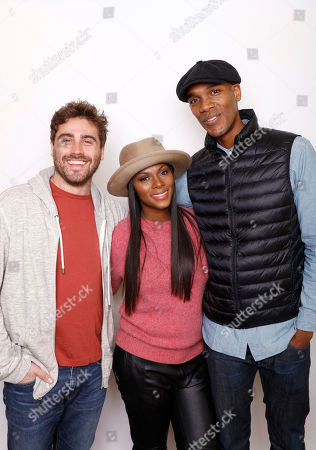 """Director Richard Tanne, actress and producer Tika Sumpter, and actor Parker Sawyers pose for a portrait to promote the film, """"Southside with You"""", at the Toyota Mirai Music Lodge during the Sundance Film Festival on in Park City, Utah"""