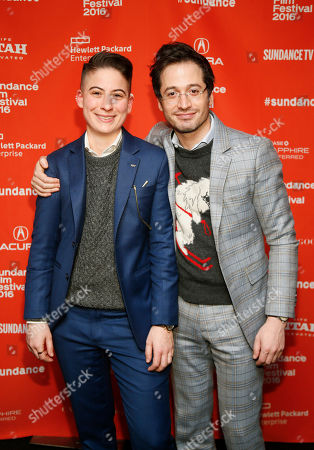"""Documentary subjects Rae Tutera, left, and Daniel Friedman, right, pose at the premiere of """"Suited"""" during the 2016 Sundance Film Festival, in Park City, Utah"""