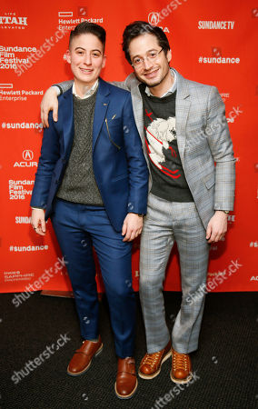 """Documentary subjects Rae Tutera, left, and Daniel Friedman pose at the premiere of """"Suited"""" during the 2016 Sundance Film Festival, in Park City, Utah"""
