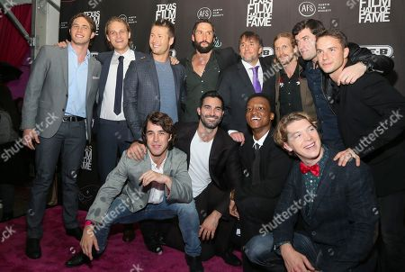 """Everybody Wants Some"""" cast Temple Baker, Wyatt Russell, Glen Powell, Juston Street, director Richard Linklater, Austin Amelio, Forrest Vickery, Will Brittain, Tanner Kalina, Quinton Johnson, Tyler Hoechlin, and Blake Jenner, clockwise from top left, are seen at the 2016 Texas Film Awards at Austin Studios, in Austin, Texas"""