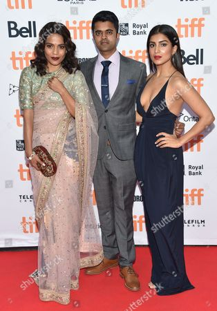 Priyanka Bose, from left, Divian Ladwa and Pallavi Sharda arrive at the Lion premiere on day 3 of the Toronto International Film Festival at the Princess of Wales Theatre, in Toronto