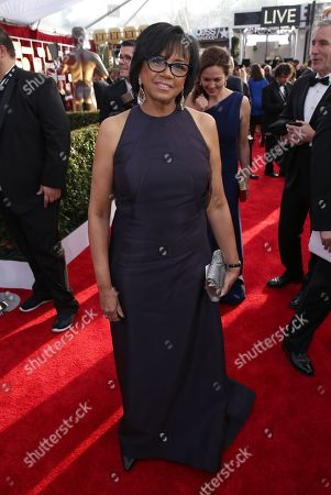 Cheryl Boone Isaacs, president of the Academy of Motion Picture Arts and Sciences, arrives at the 22nd annual Screen Actors Guild Awards at the Shrine Auditorium & Expo Hall, in Los Angeles