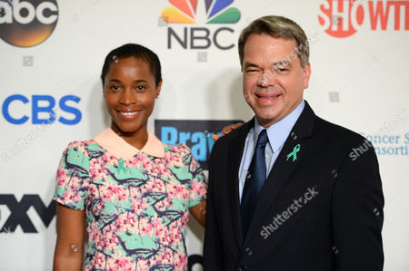 Valisia Lekae, left, and David Barley arrive at the 4th Annual Stand Up 2 Cancer Live Benefit at The Dolby Theatre, in Los Angeles