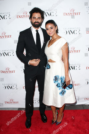 Adrian Bellani, left, and Emmanuelle Chriqui attend The Dizzy Feet Foundation's 5th Annual Celebration of Dance Gala held at Club Nokia, in Los Angeles