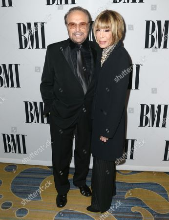 Barry Mann, left, and Cynthia Weil, BMI Icon Award winners, arrive at the 64th annual BMI Pop Awards at the Beverly Wilshire Hotel, in Beverly Hills, Calif