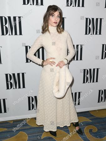 Amy Heidemann of Karmin arrives at the 64th annual BMI Pop Awards at the Beverly Wilshire Hotel, in Beverly Hills, Calif
