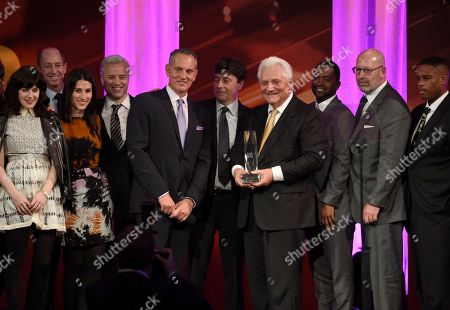 Chairman/CEO of Sony/ATV Music Publishing, Martin Bandier, fourth from right, and the team from Sony ATV Music Publishing accept the BMI publisher of the year award at the 64th annual BMI Pop Awards at the Beverly Wilshire Hotel, in Beverly Hills, Calif